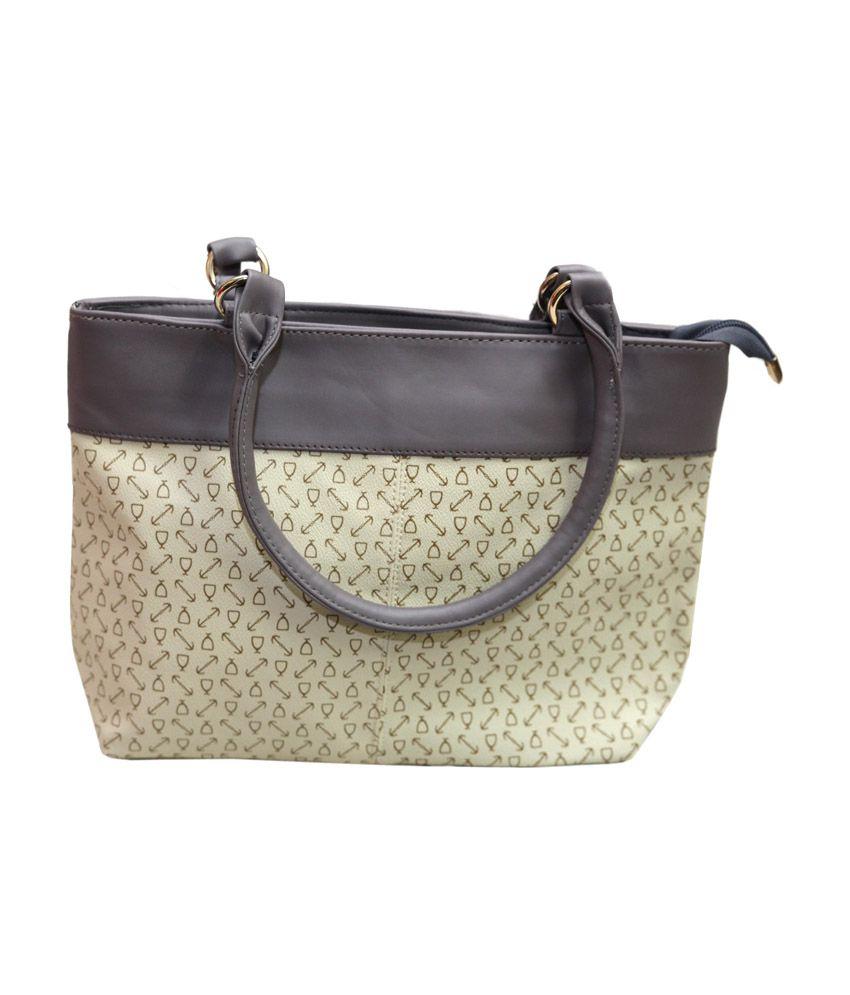Life Style Inc Yellow And Brown Leather Handbag
