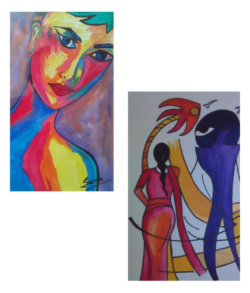 Sana's Art Blue Acrylic Lady Painting On Handmade Sheet - Pack Of 2