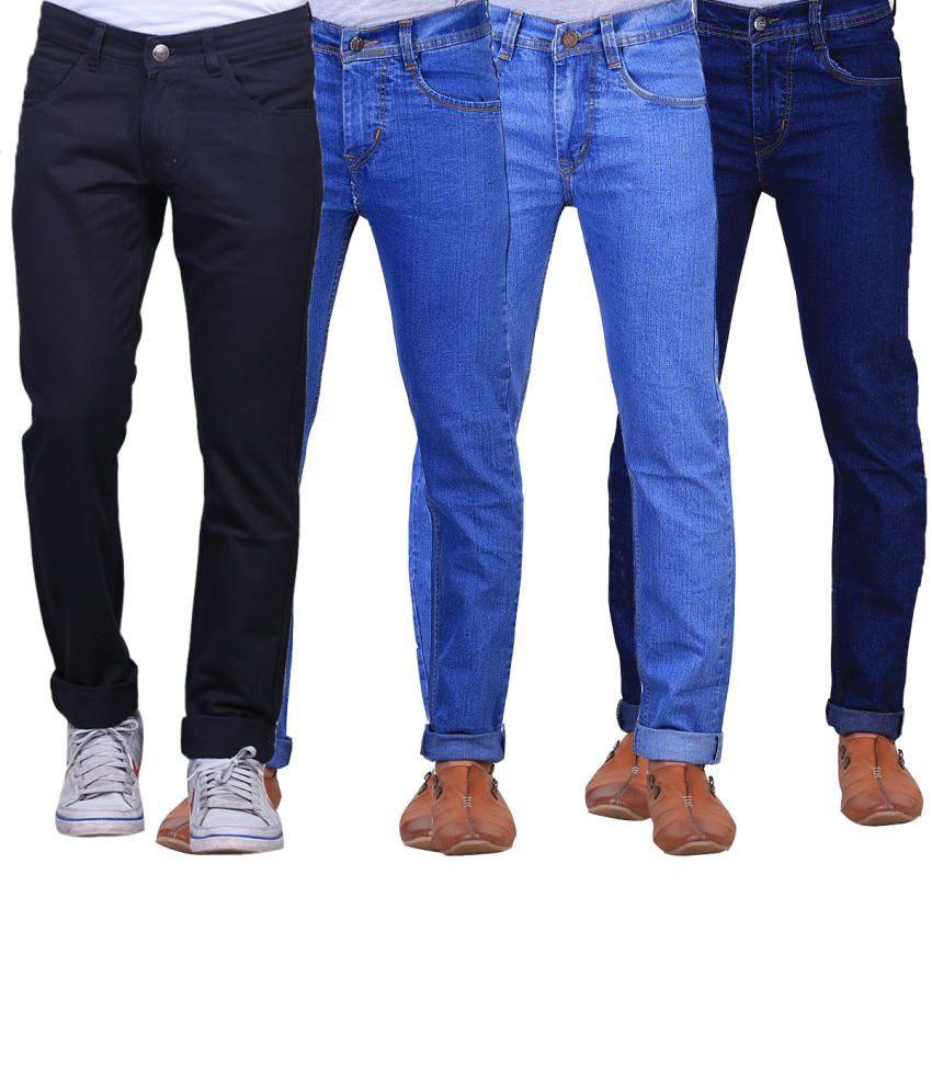 X-cross Combo Of 4 Blue Blended Cotton Jeans For Men