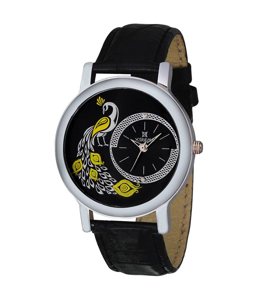Xtreme Leather Analog Round Dial Ladies Watch With Black Strap