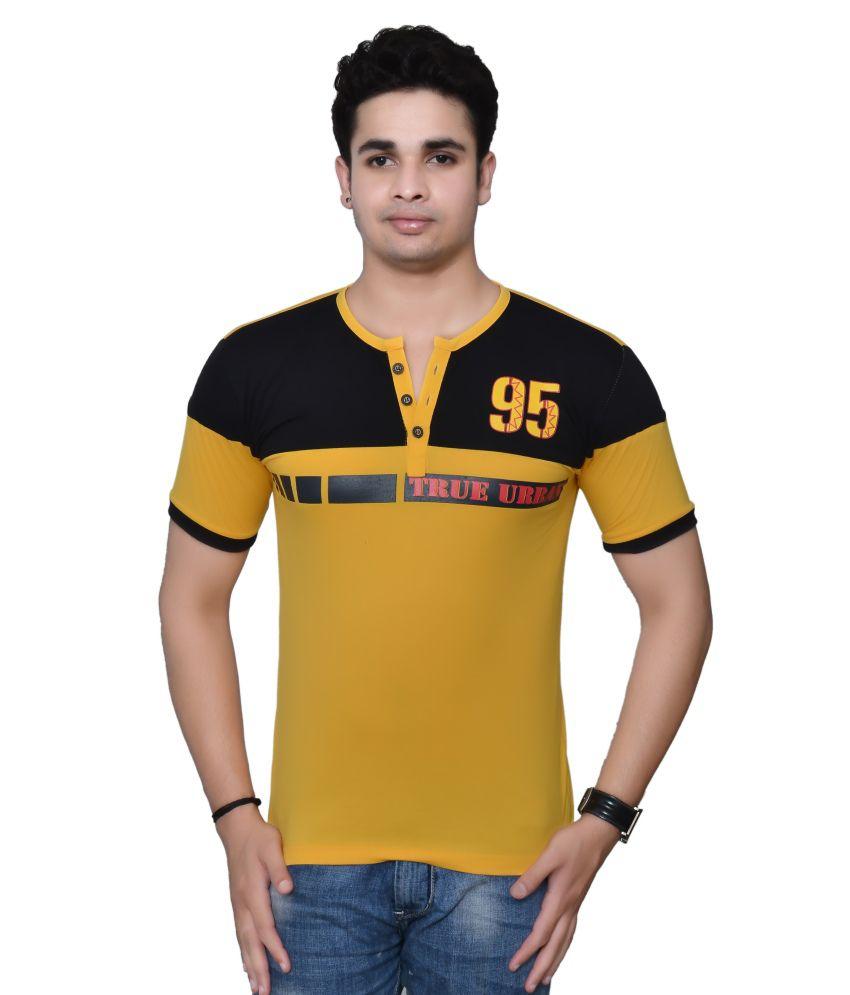 ZXE Gold Cotton Round Neck Printed Men T Shirts