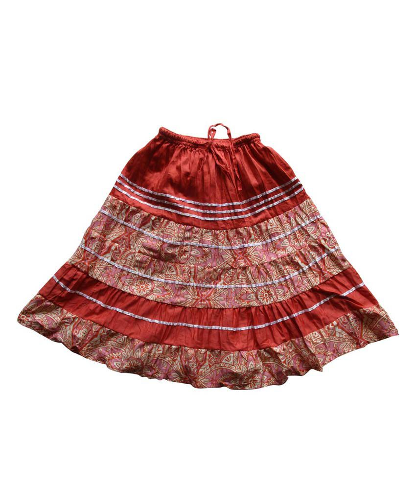 Garlynn Red Printed Cotton Skirt