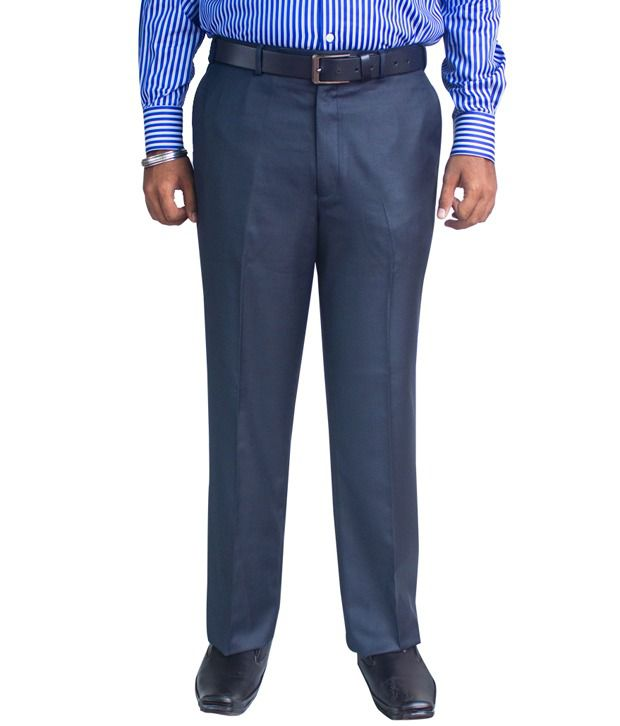 Kinger Navy Blue Regular Fit Trousers