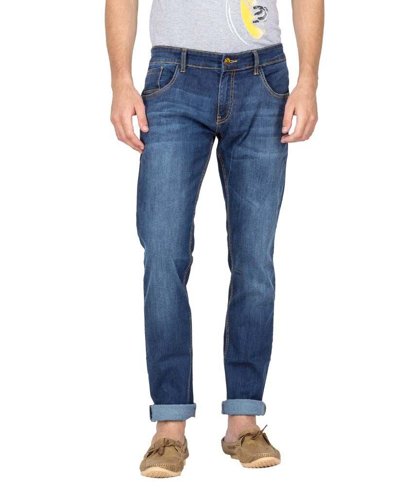 Le Bison Blue Cotton Slim Fit Mid Rise Faded Jeans