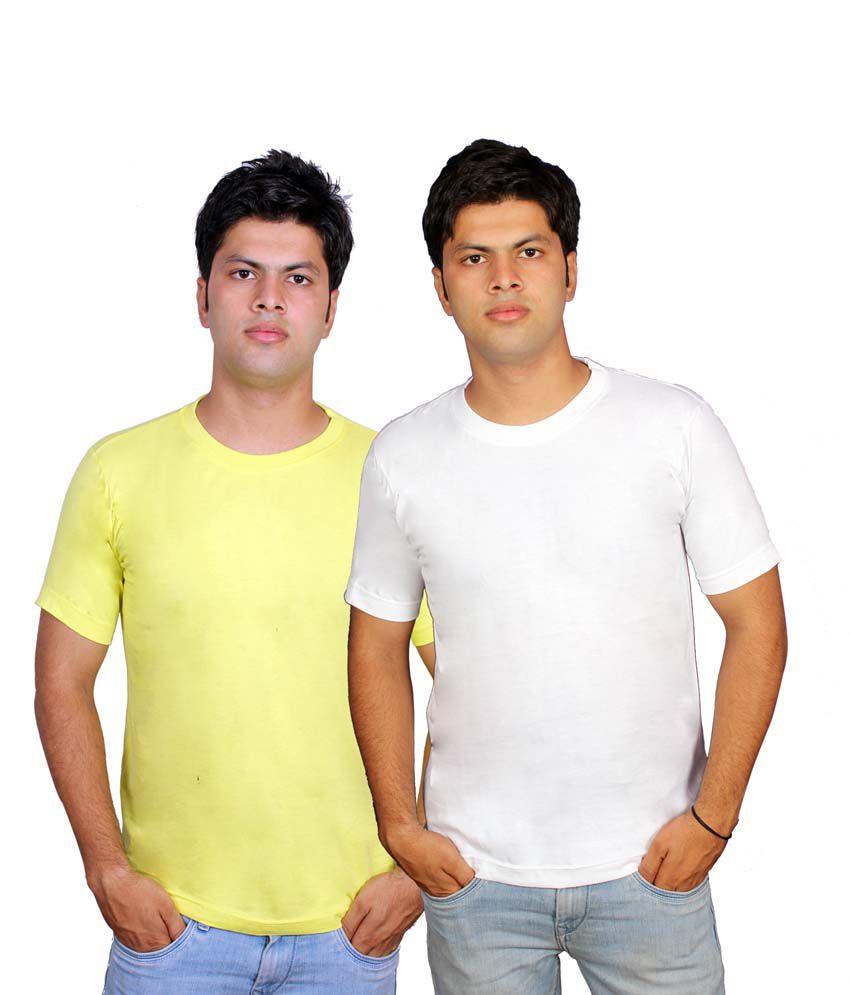 Civilized Showdown Multicolor Cotton Half Sleeve Round Neck T-shirt - Combo Of 2