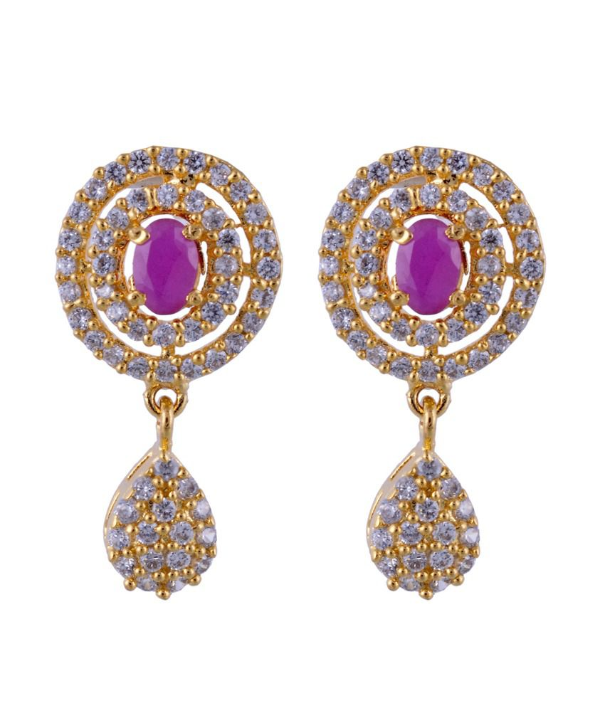 Shonajewels Silver And Gold Plated American Diamond Studs Earrings