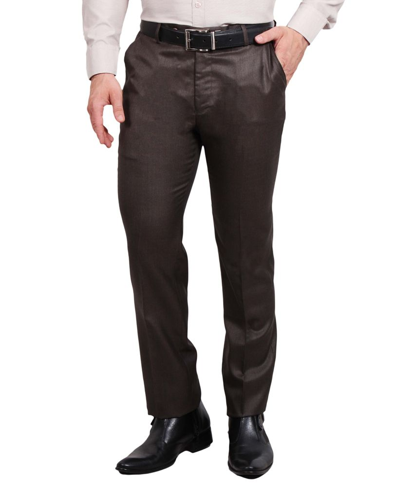 Solemio Charcoal Poly Viscose Slim fit Formal trouser