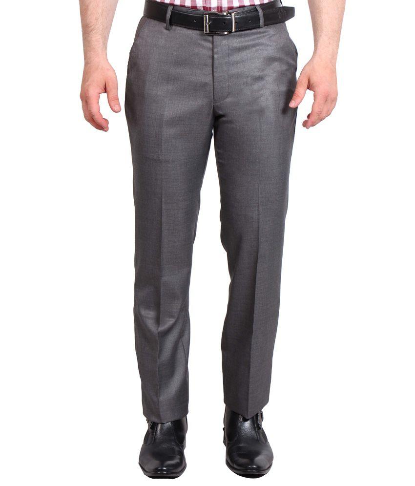 Solemio Grey Poly Viscose Slim fit Formal trouser