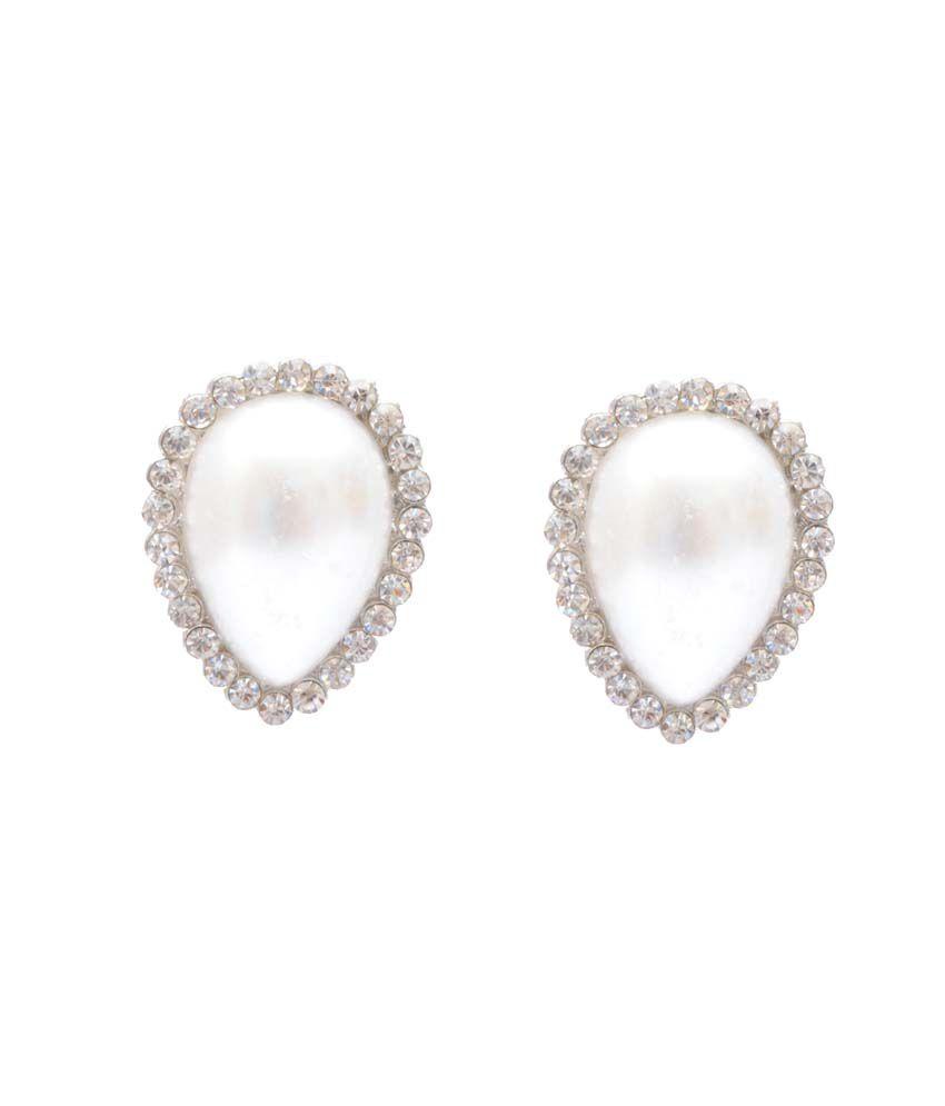 Neelam White Alloy Antique Festive Stud Earrings