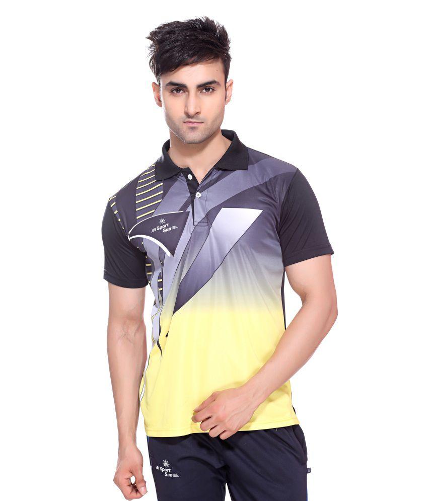 Sport Sun Sportswear Sublimation Print Black Half Sports T-Shirt