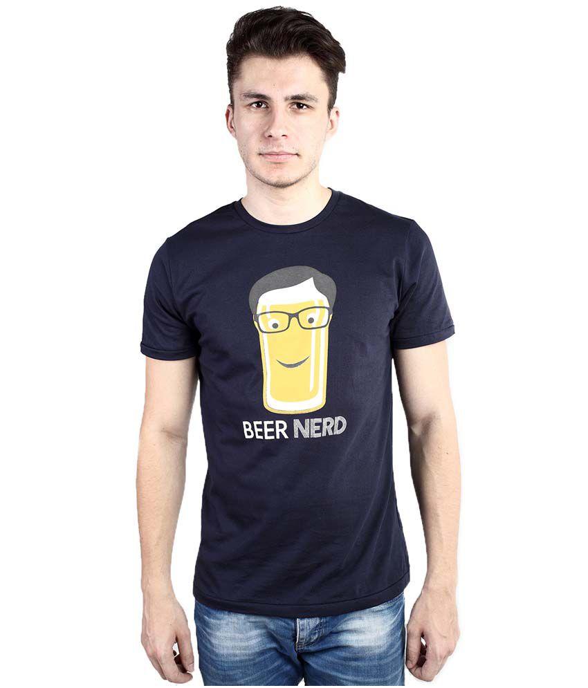 Tomo Blue Cotton Round Neck Half Sleeve Printed T-Shirt For Men