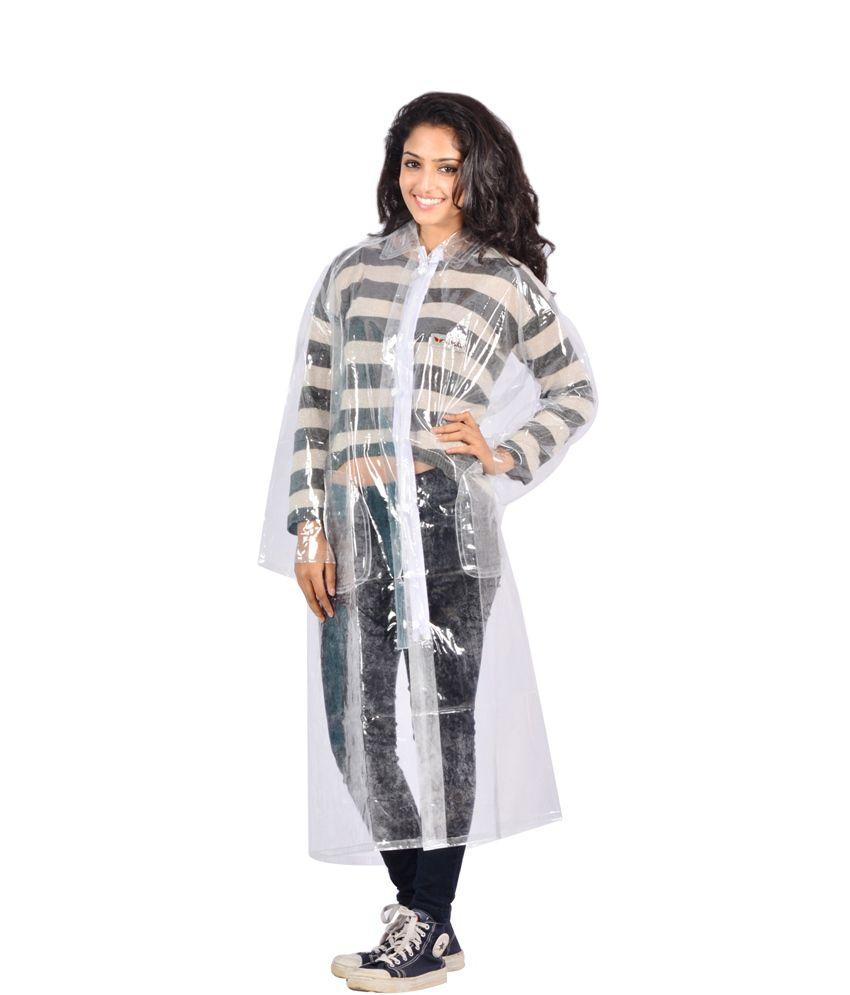 Versalis White Waterproof Full Sleeve Long Raincoat
