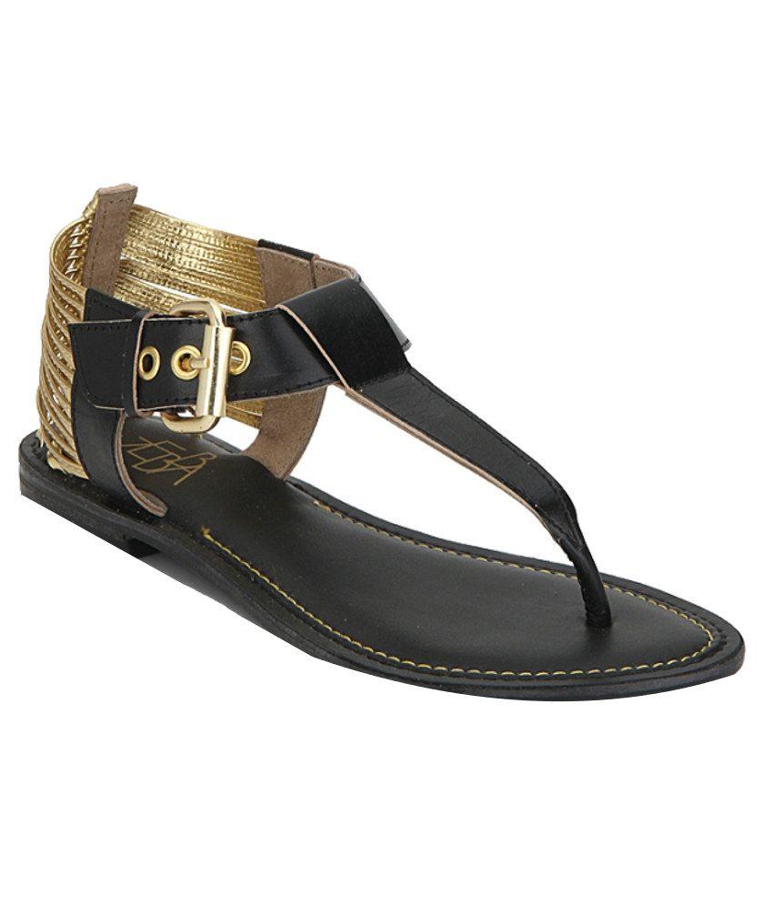Zebba Fashionable Black Sandals