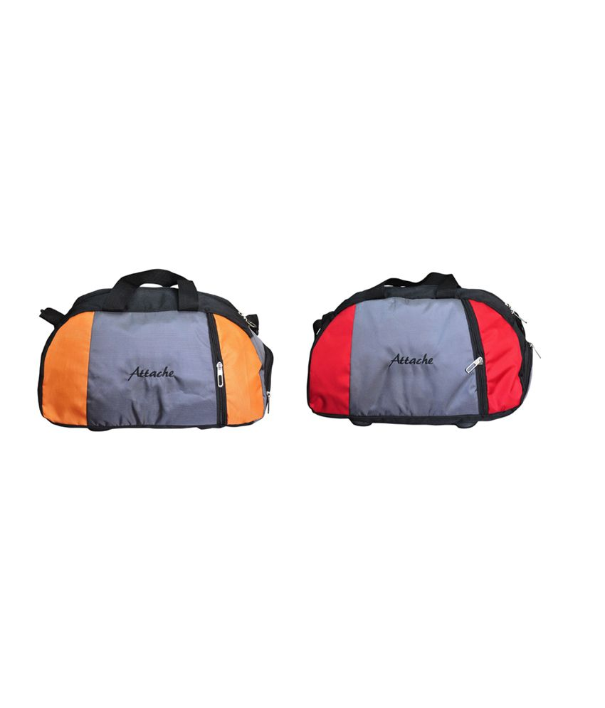 Attache Orange And Red Set Of 2(With Shoe Pocket) gear Gym Bag