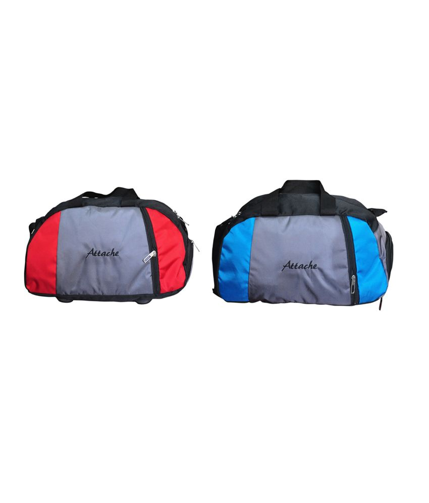 Attache Red And Blue Set Of 2(With Shoe Pocket) gear Gym Bag