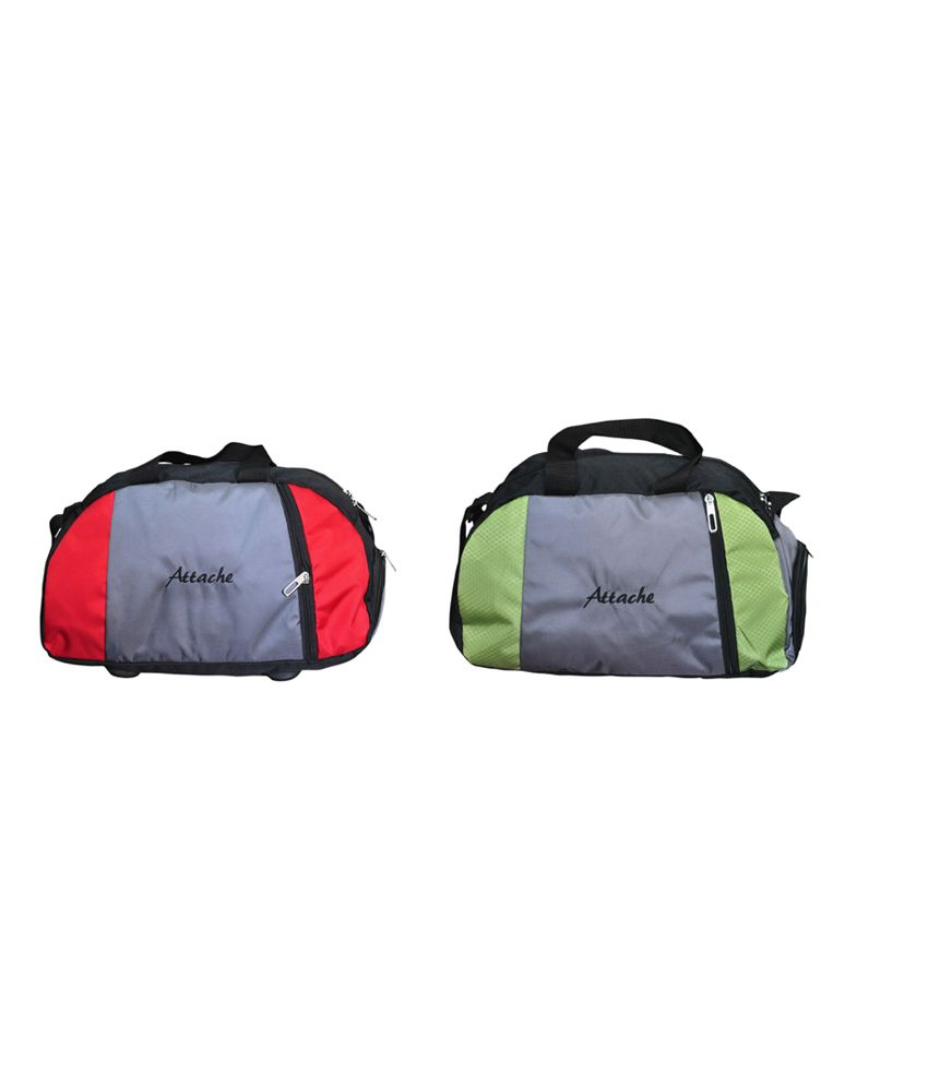 Attache Red And Green Set Of 2(With Shoe Pocket) gear Gym Bag