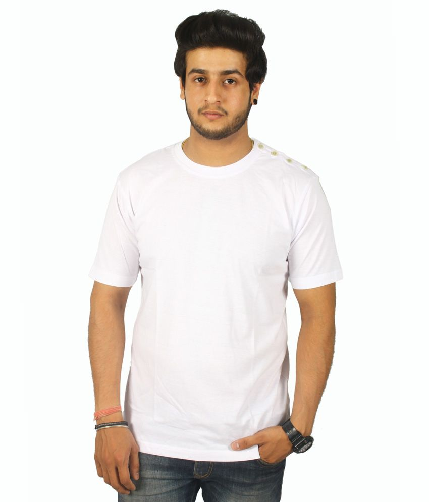 Centimeter Round Neck Shoulder Buttoned T Shirt For Men