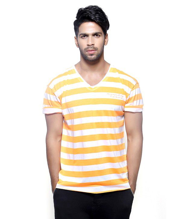 Fashnopolism Yellow Cotton T Shirt For Men