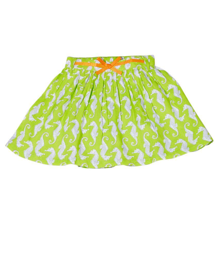Gini & Jony Cotton Green Skirt for Girls