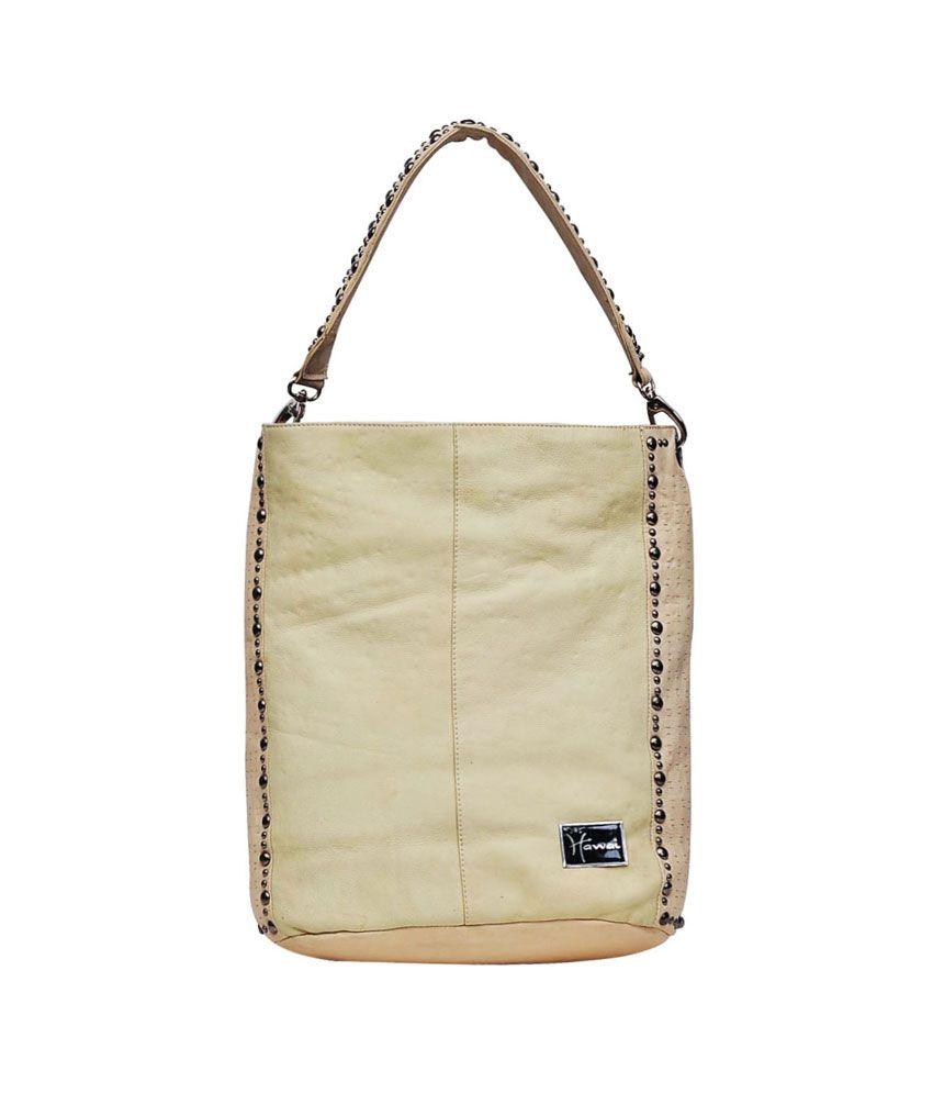 Hawai White Leather Zip Shoulder Bag
