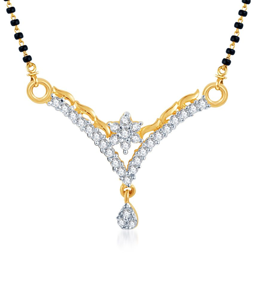 Sukkhi AD Floral V Design Mangalsutra (Mangalsutra Mala may vary from the actual image)