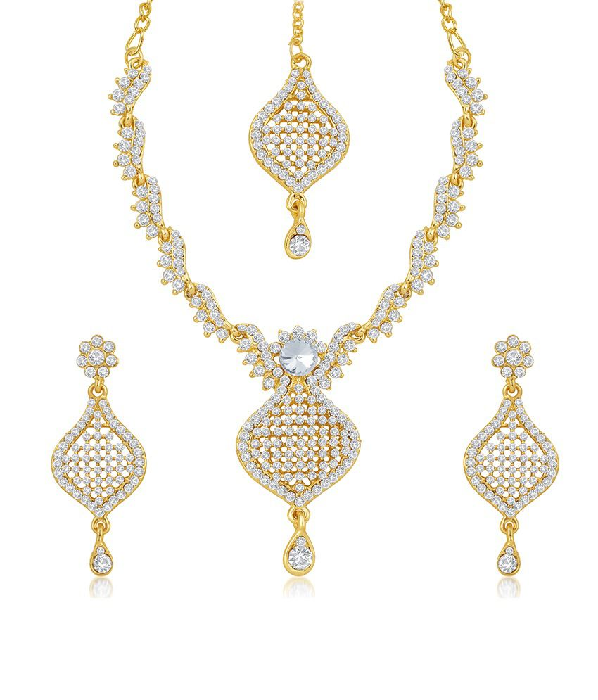 Sukkhi Briliant Gold Plated Australian Diamond Stone Studded Necklace Set