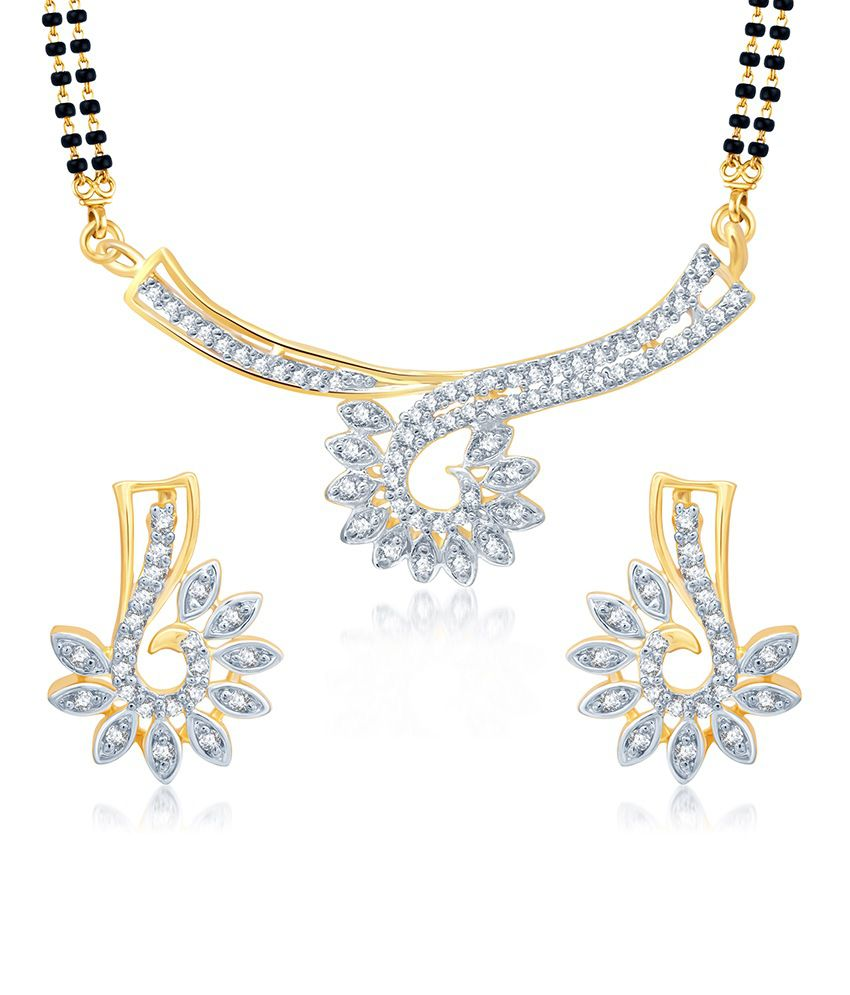 Sukkhi Glimmery Gold and Rhodium Plated Cubic Zirconia Stone Studded Mangalsutra Set (Mangalsutra Mala may vary from the actual image)