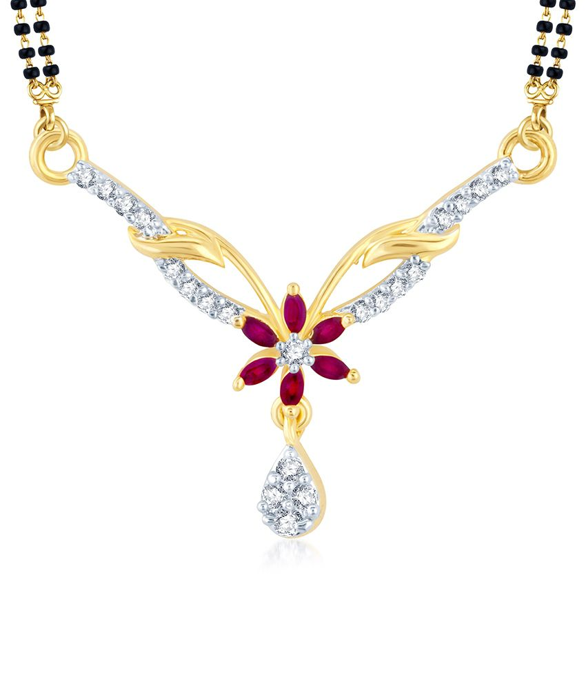 Sukkhi Glorious Gold and Rhodium Plated Cubic Zirconia and Ruby Stone Studded Mangalsutra Pendant (Mangalsutra Mala may vary from the actual image)