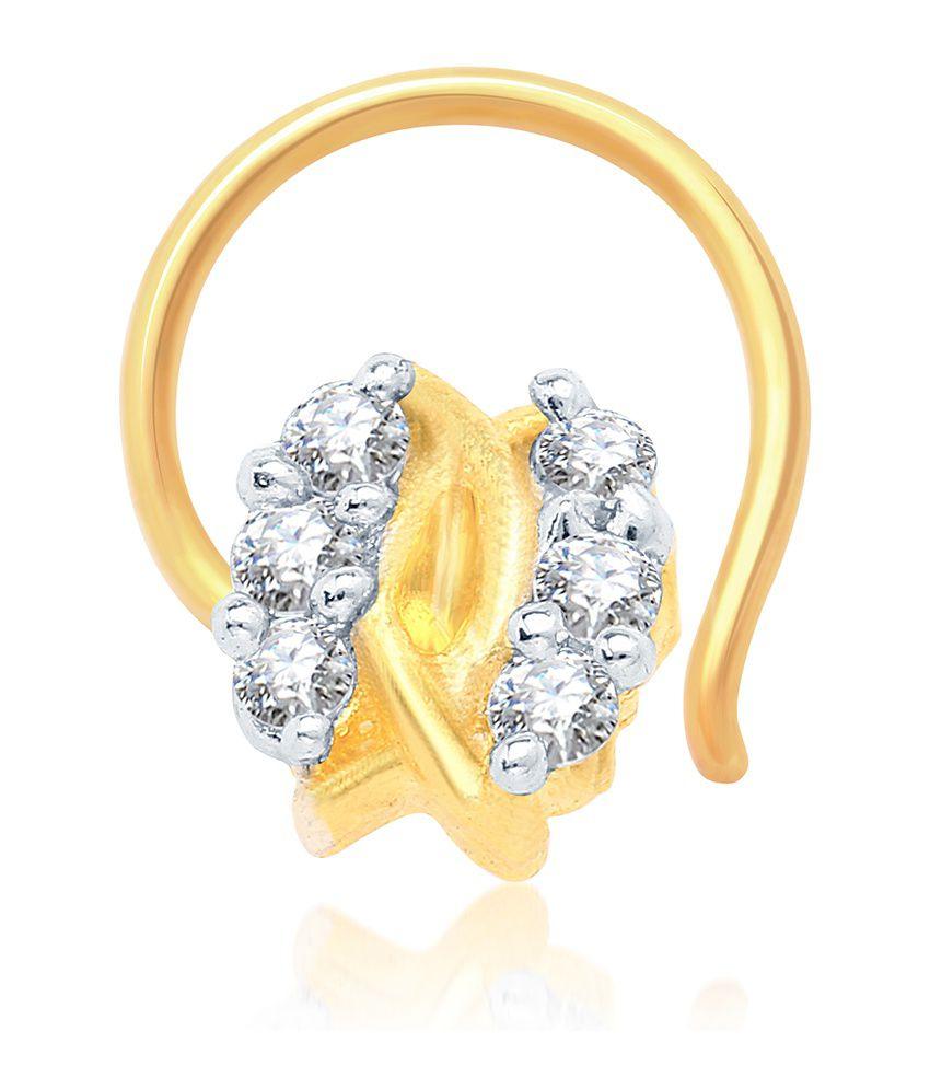Sukkhi Modern Gold and Rhodium Plated CZ Nose Pin