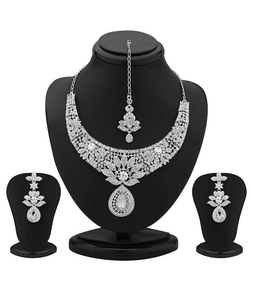 Sukkhi Modern Rhodium Plated Australian Diamond Necklace Set