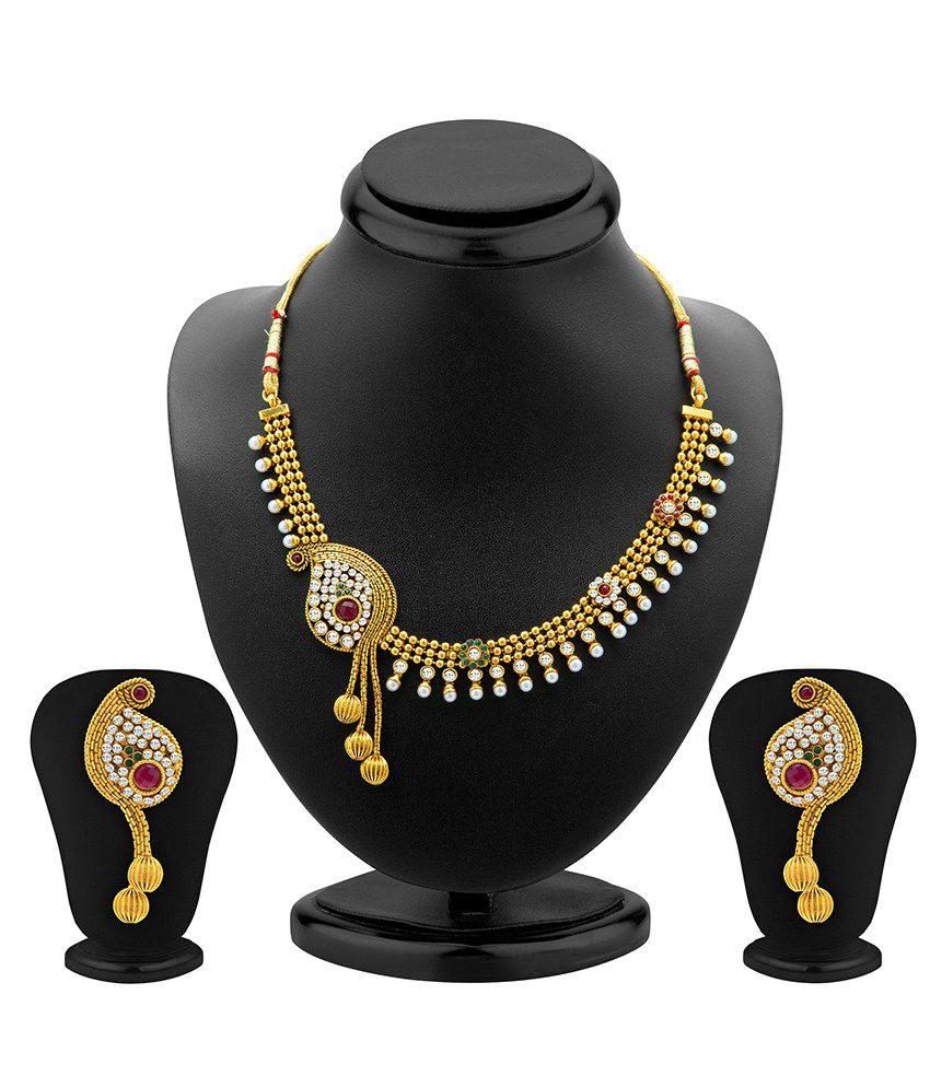Sukkhi Copper Gold Plated Crystal Studded Necklace Set