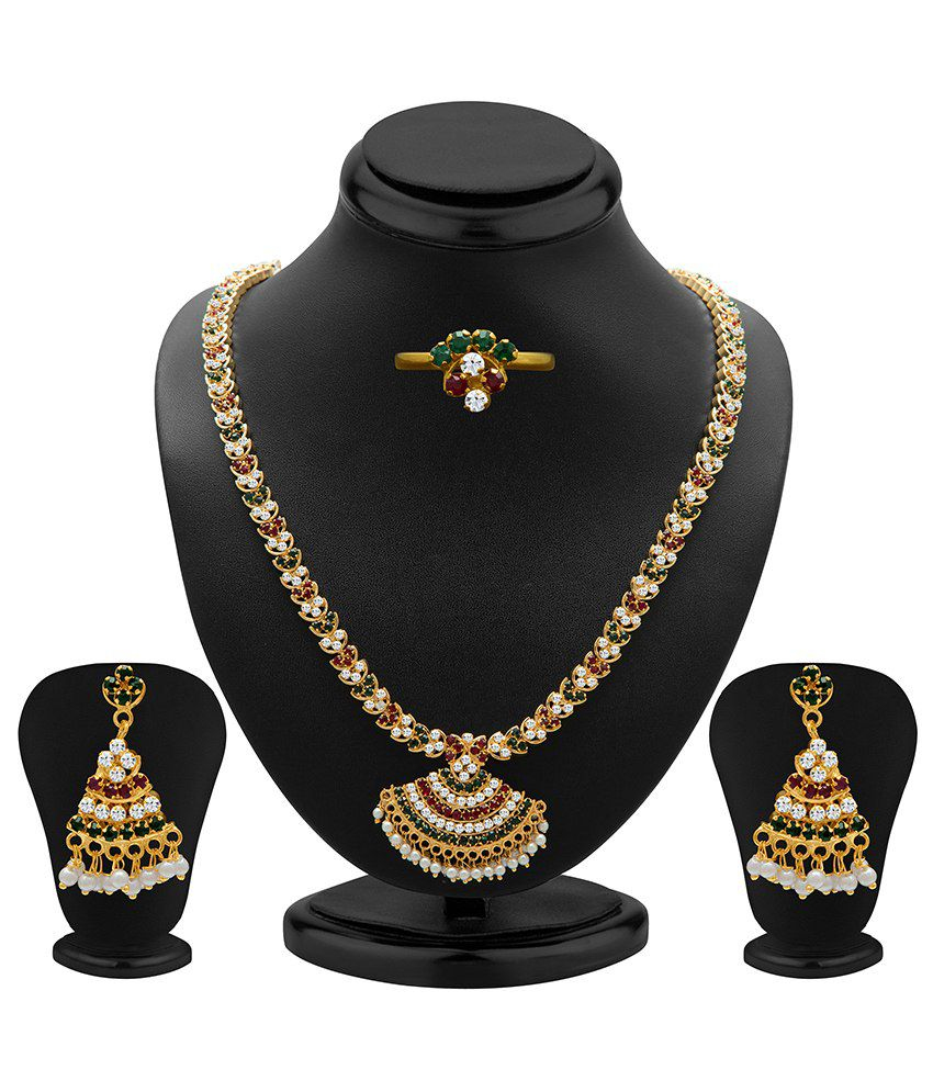 Sukkhi Sparkling Antique Necklace Set With Ring
