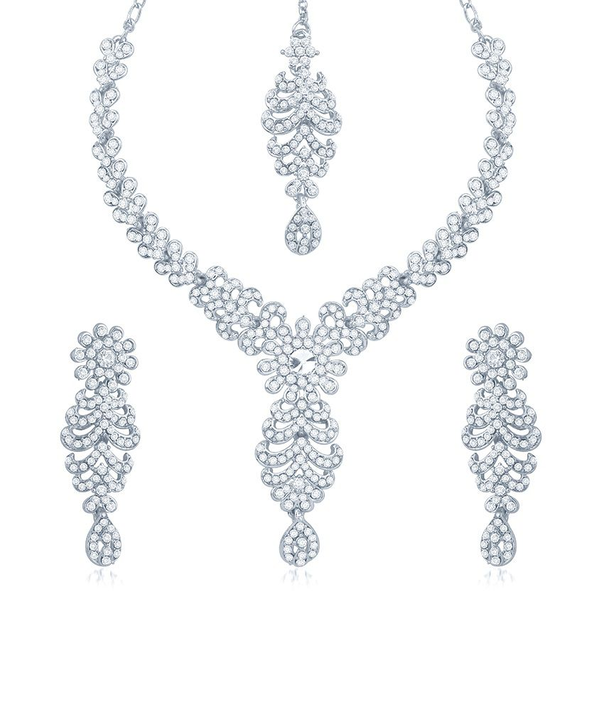 Sukkhi Splendid Rhodium Plated Australian Diamond Stone Studded Necklace Set