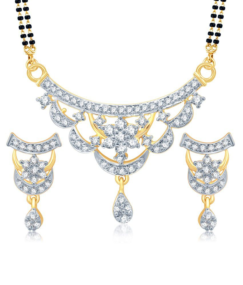 Sukkhi Stylish Gold and Rhodium Plated Cubic Zirconia Stone Studded Mangalsutra Set (Mangalsutra Mala may vary from the actual image)