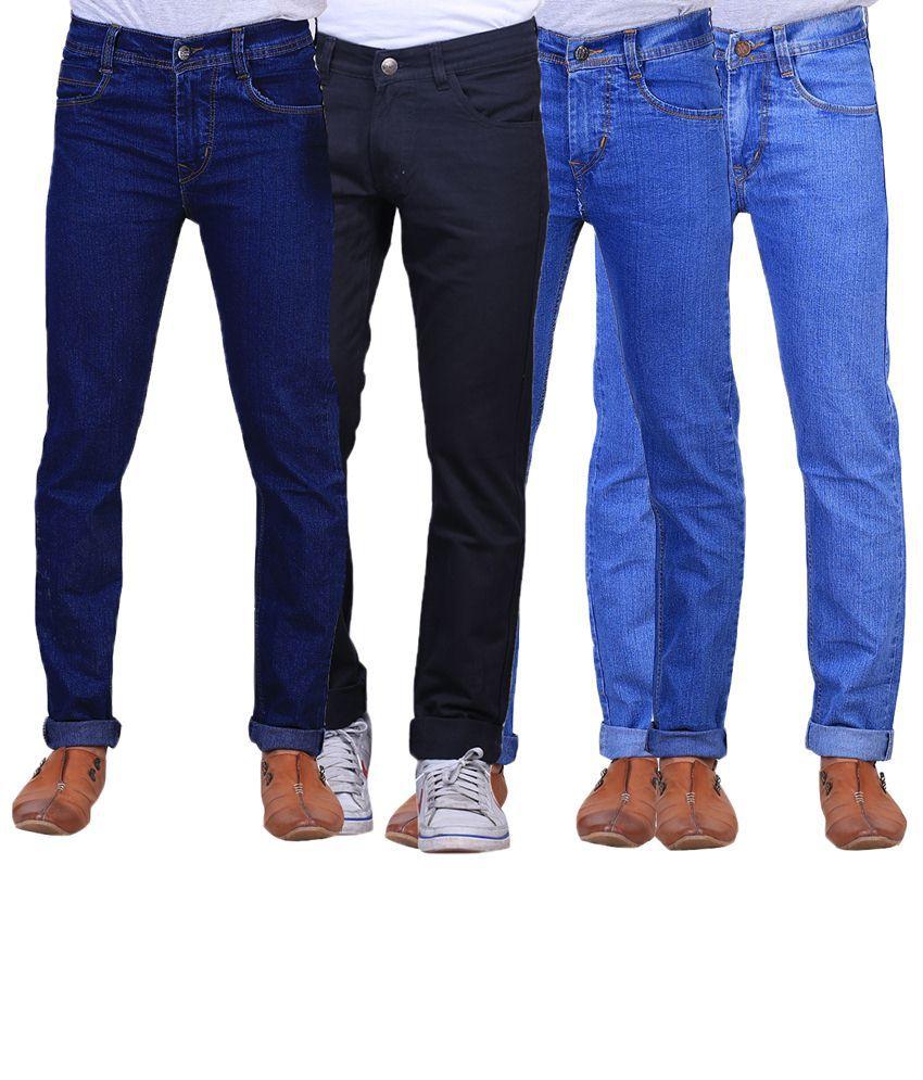 X-Cross Classic Combo Of 4 Blue & Black Jeans For Men