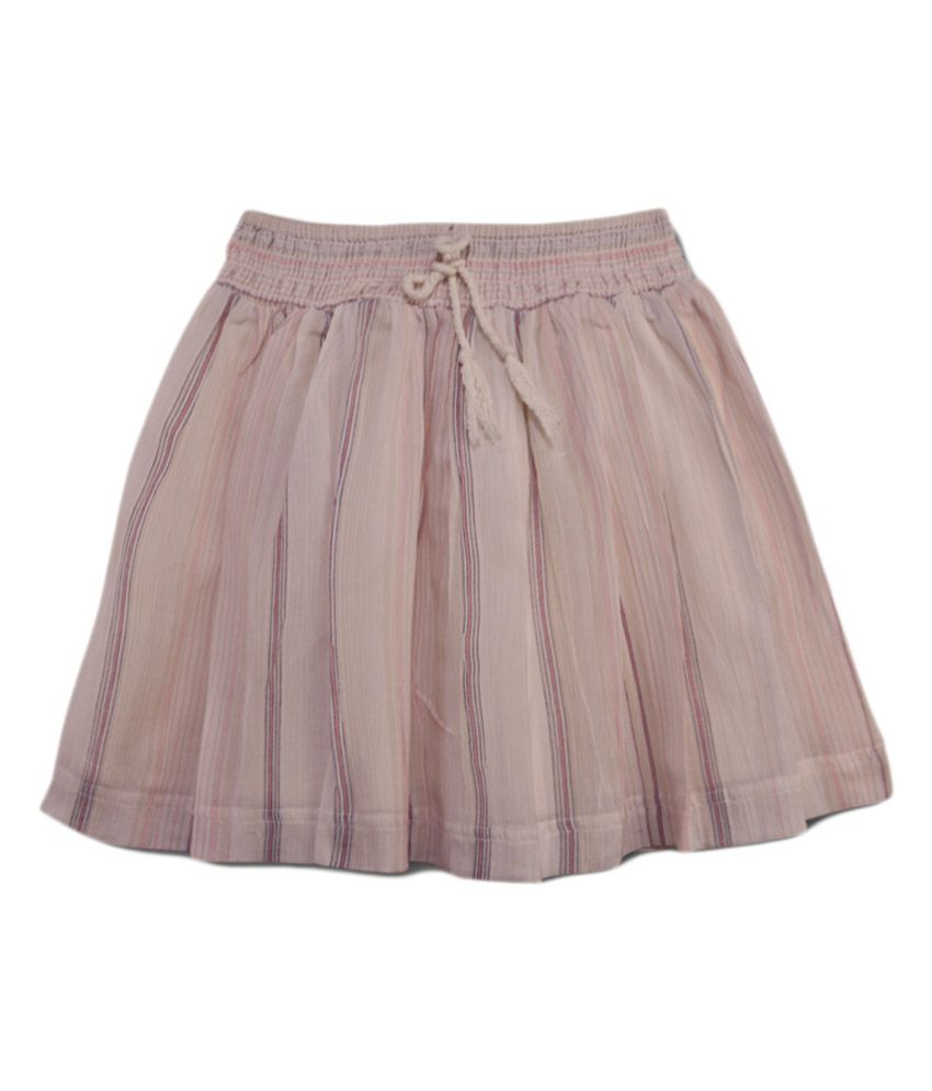 Young Birds Cream Cotton Printed Elastic Waist Skirt