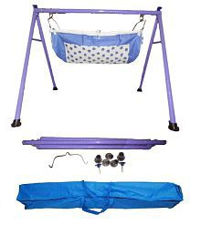 Smart Baby Purple Round Pipe Folding Baby Cradle Bassinet