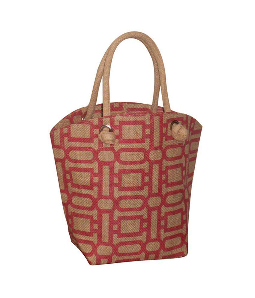 EARTHBAGS Boat Shape Jute Bag with Red Geometric Print