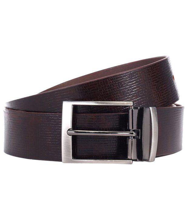 WildHorn Textured Brown Formal Belt For Men