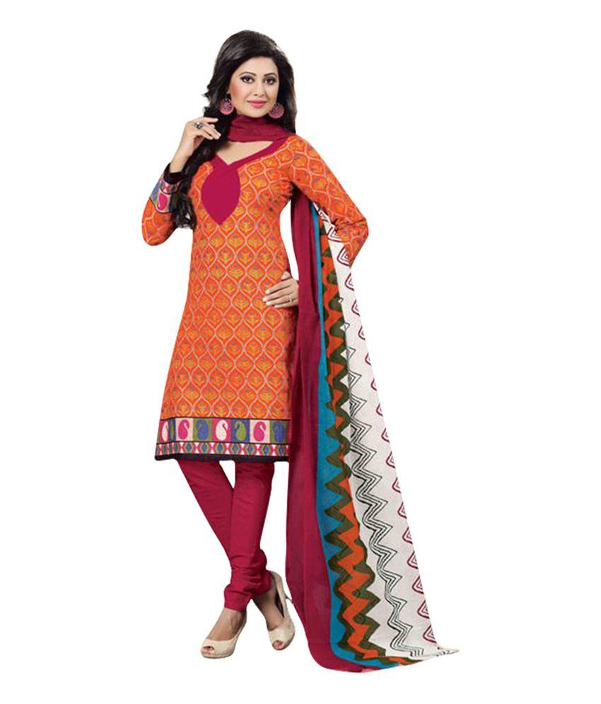Drapes Orange Cotton Unstitched Dress Material