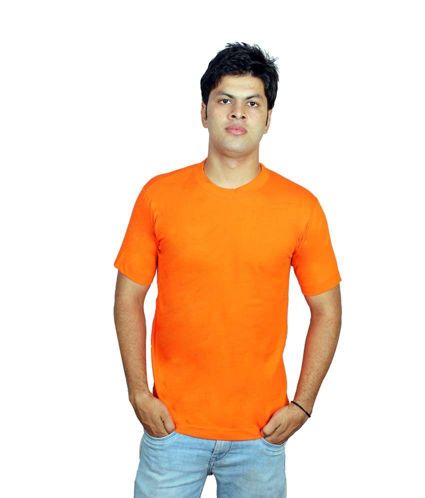 Fifo Orange Cotton Half Sleeve Round Neck T-shirt