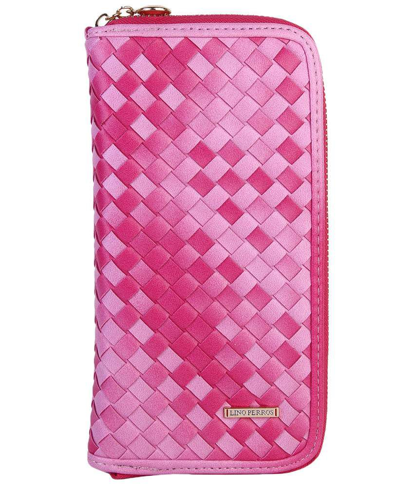 Lino Perros Pink Checkered Casual Wallet For Women