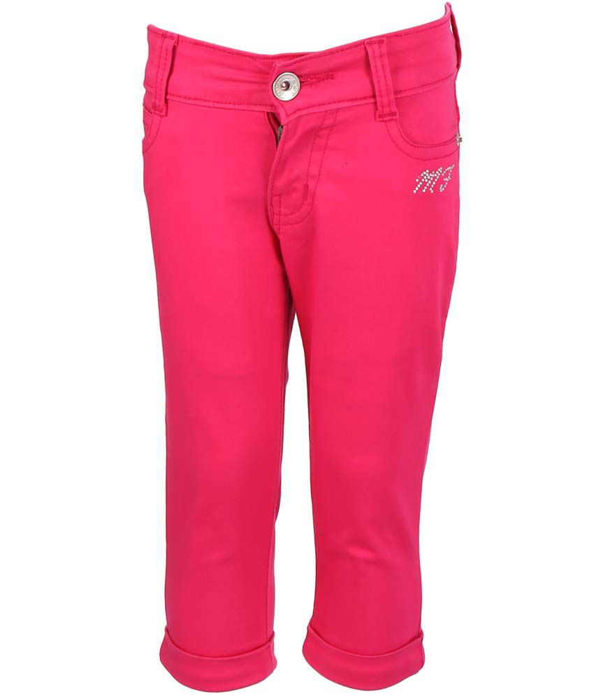 Miloni Pink Cotton Slim Fit Capri For Kids