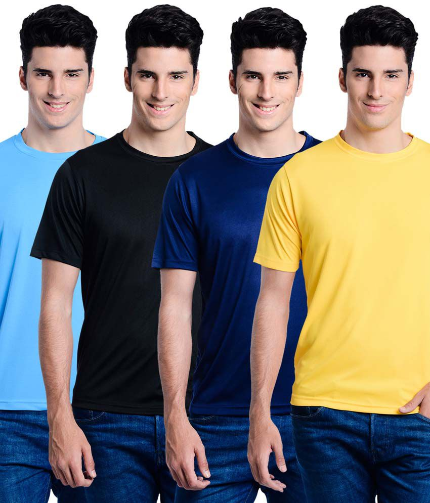 Superjoy Multicolor Polyester Round Neck Half T-shirts - Set of 4