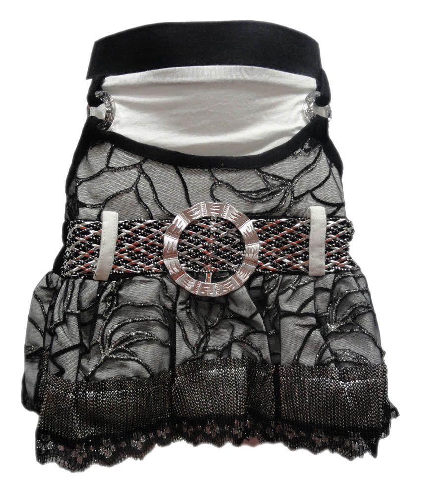 Threads Black Synthetic Printed Elastic Skirt