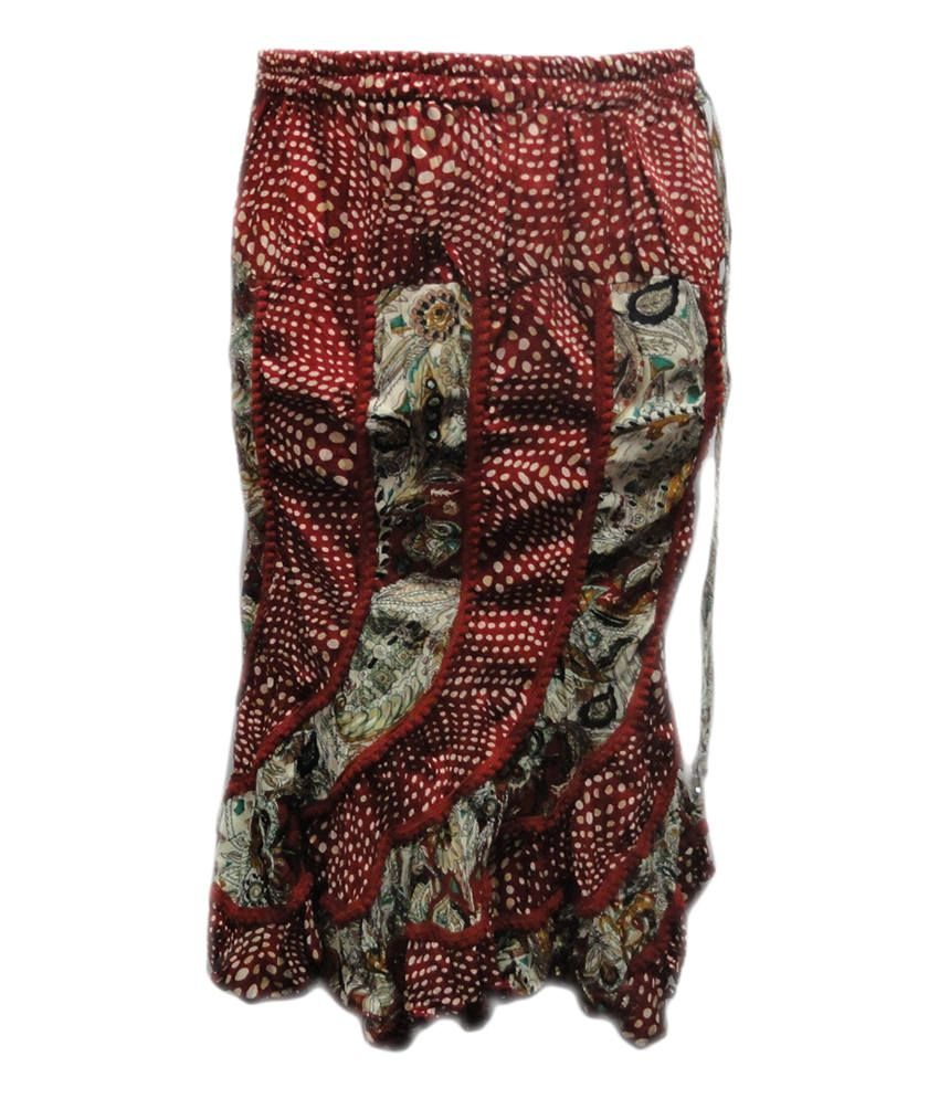 Threads Maroon Cotton Printed Elastic Skirt