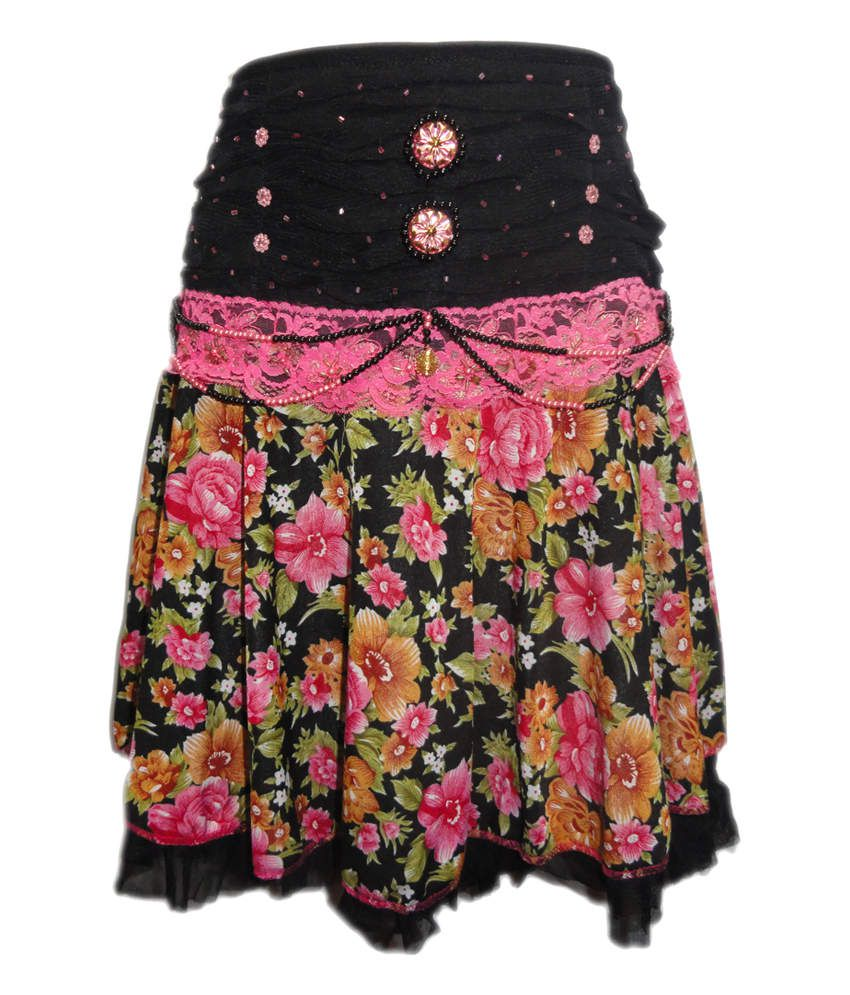 Threads Pink Synthetic Printed Elastic Skirt