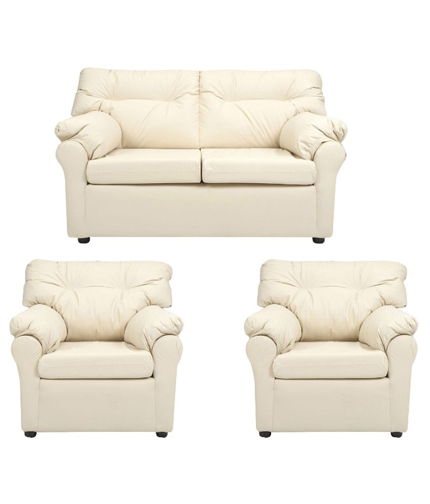 Buying A Couch Online: Elzada 4 Seater Sofa Set (2+1+1) In White