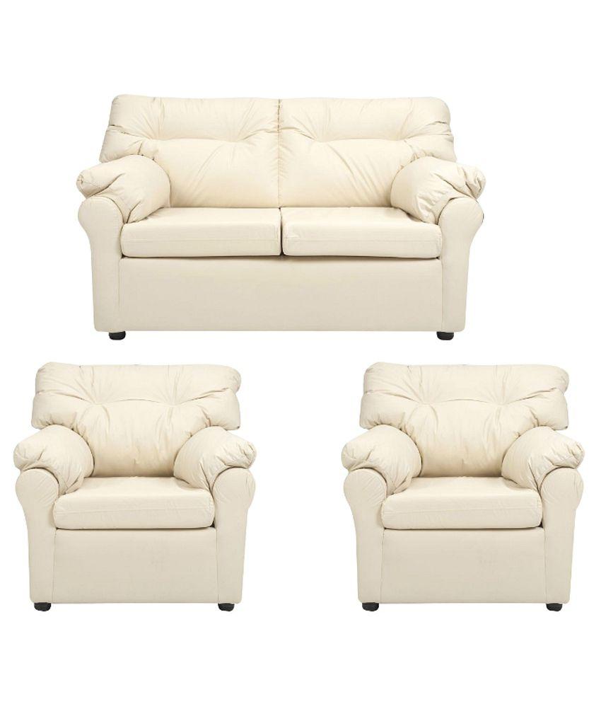 elzada 4 seater sofa set 2 1 1 in white buy elzada 4. Black Bedroom Furniture Sets. Home Design Ideas
