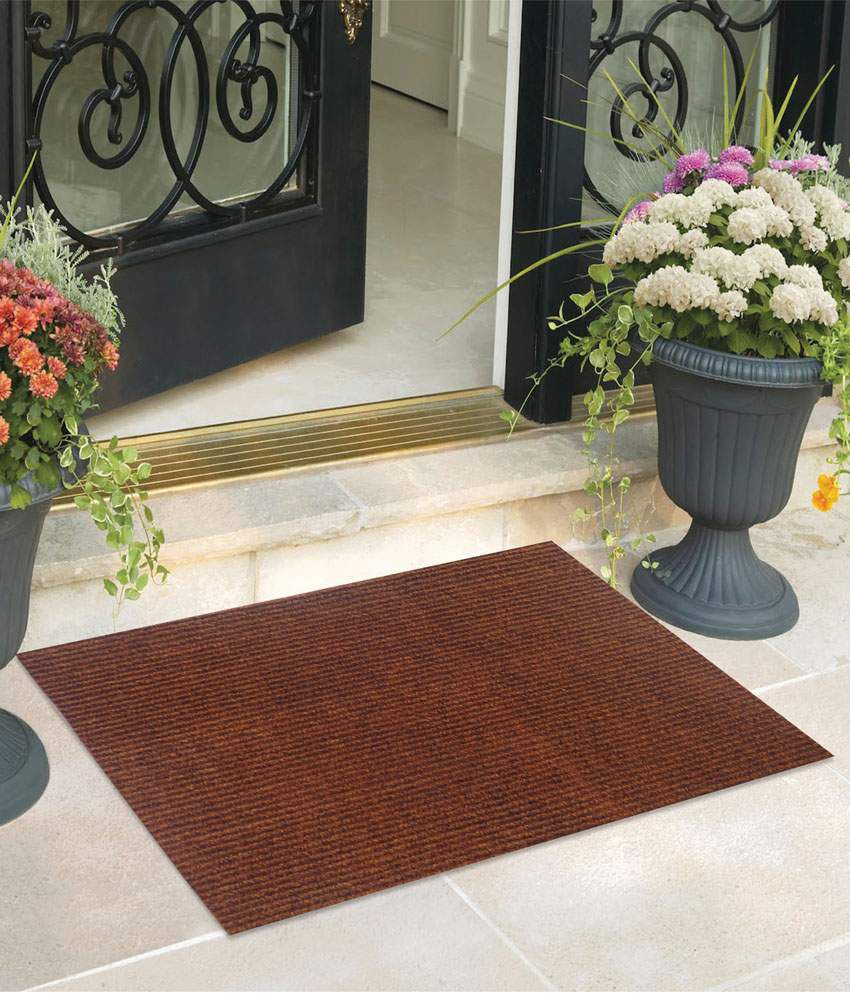 Fantasy Nano Nylon Brown & Red Floor Mats (Set of 2)